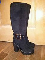 Кожаные сапоги женские каблук