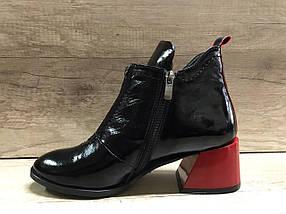 Стильные женские ботинки на удобном каблуке из натуральной лаковой кожи  VIKTTORIO, фото 2
