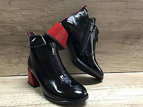 Стильные женские ботинки на удобном каблуке из натуральной лаковой кожи  VIKTTORIO, фото 3
