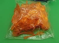 Вилка одноразовая пластиковая для фруктов Юнита Оранжевая (250 шт)