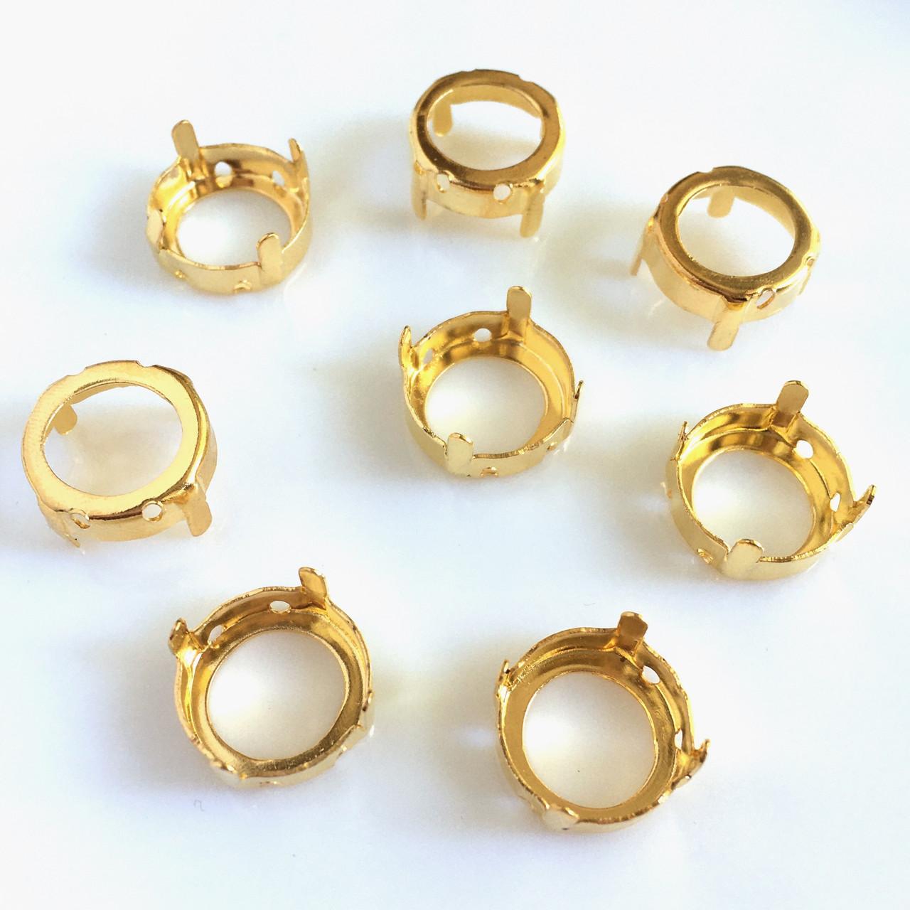 Цапы (оправа) Круглые 14 мм. Золото