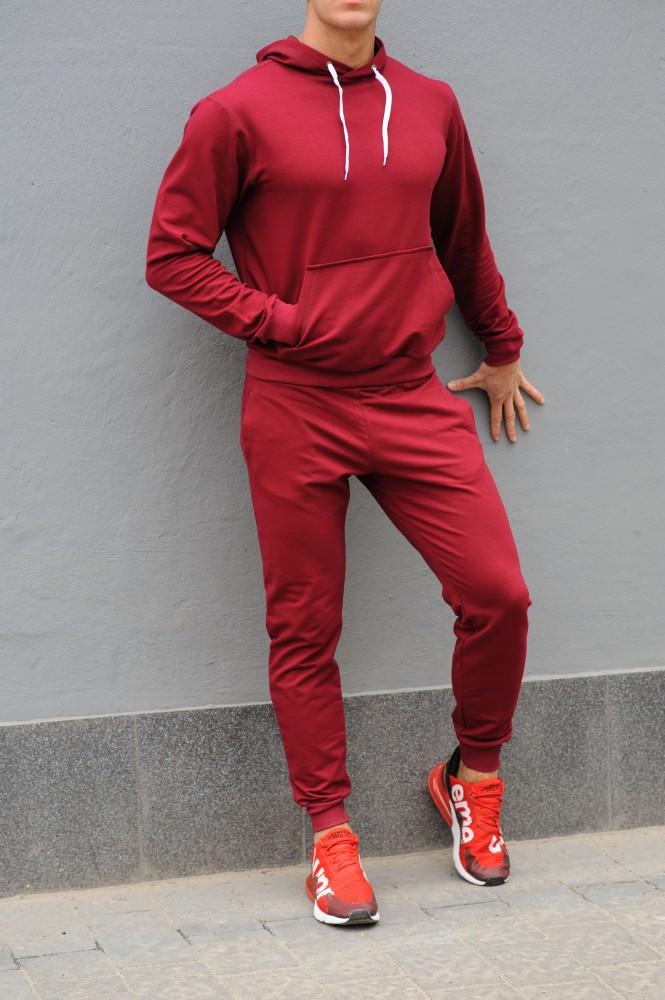Чоловічий спортивний костюм 21451 бордовий