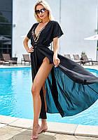 Летняя пляжная длинная креп-шифоновая туника-парео в пол с поясом (Сари jd) Черный
