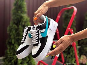 Женские кроссовки Nike Air Force 1 Shadow,белые с черным/голубым, фото 2