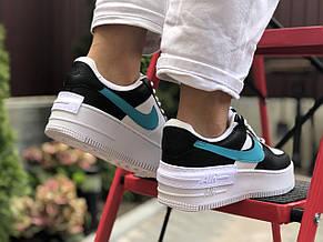 Женские кроссовки Nike Air Force 1 Shadow,белые с черным/голубым, фото 3