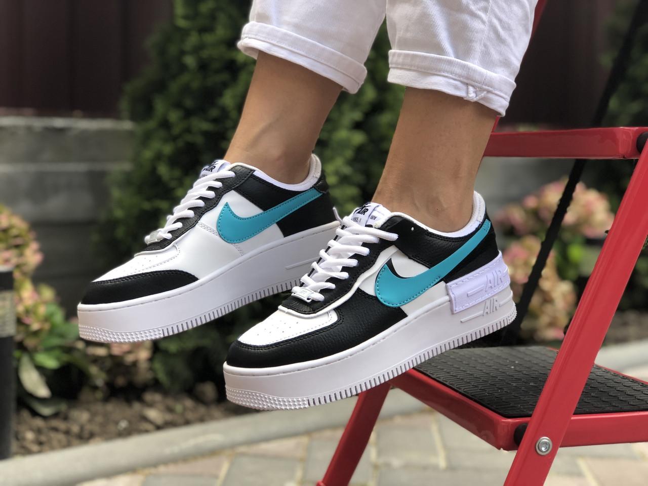 Женские кроссовки Nike Air Force 1 Shadow,белые с черным/голубым