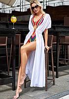 Летняя пляжная длинная креп-шифоновая туника-парео в пол с поясом (Сари jd) Белый