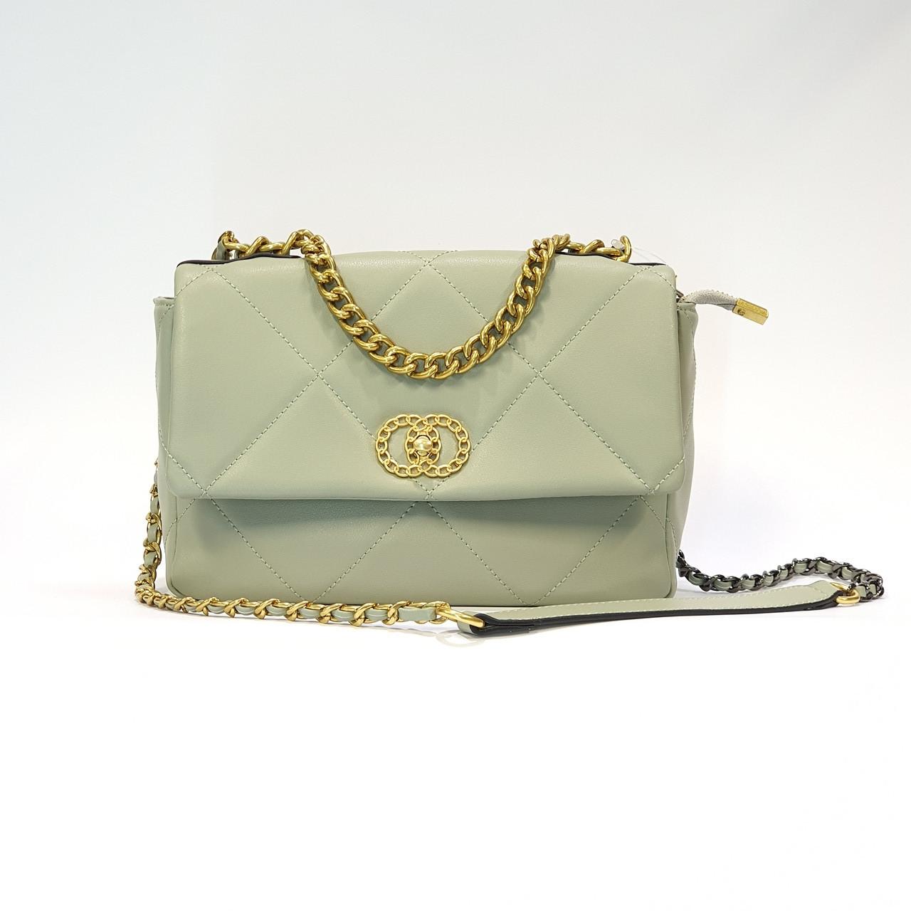 Женская мятная сумочка из натуральной кожи средняя повседневная