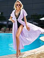 Летняя пляжная длинная креп-шифоновая туника-парео в пол с поясом (Сари jd)