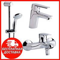 Комплект смесителей для ванной комнаты Qtap Set 35-311. Набор смесителей 3 в 1: ванна, умывальник, гарнитур
