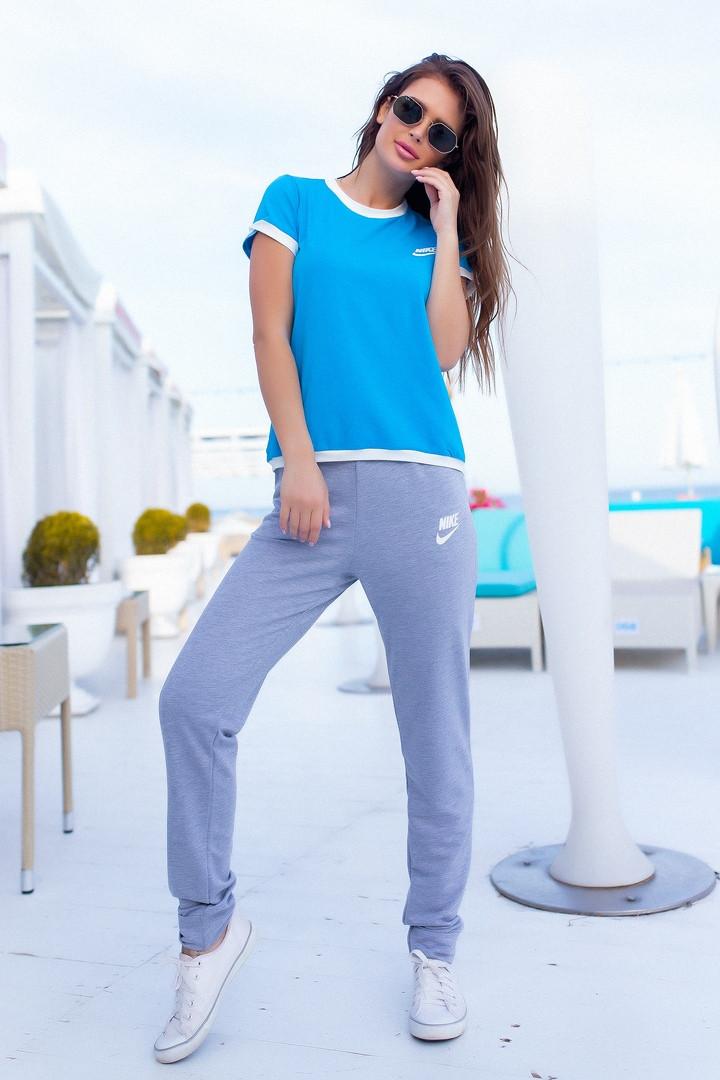Женский летний спортивный костюм футболка и штаны размер: 42, 44, 46, 48, 50, 52, 54
