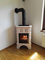 Изразцовая печь -камин ( каминофен ) Haas+Sohn Treviso 2 с кафельной ножкой Слоновая кость,, фото 1