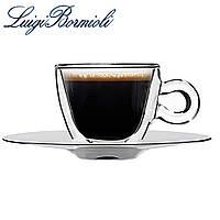 Чашка с двойным дном 65 мл и металлическим блюдцем, набор из 2 шт, прозрачная, универсальная, Luigi Borm