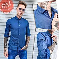 Рубашка мужская синяя с длинным рукавом 2 в 1