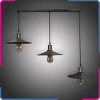 Светильник подвесной в стиле лофт Тара тройной черный