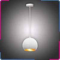 Светильник подвесной в стиле лофт Шар на 1 лампу белый+бронза Ø180 мм