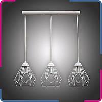 Светильник подвесной в стиле лофт Ромбы на 3 лампы белый