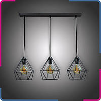 Светильник подвесной в стиле лофт Шанс на 3 лампы черный