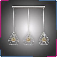 Светильник подвесной в стиле лофт Шанс на 3 лампы белый