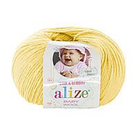 Детская зимняя пряжа Ализе BABY WOOL лимонного цвета