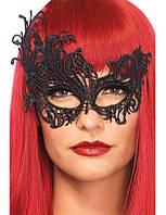 Женская карнавальная маска на глаза  чёрный ( 190 010 )