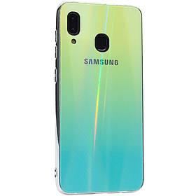 TPU+Glass чехол Gradient Aurora с лого для Samsung Galaxy A20 / A30