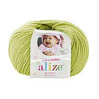 Детская зимняя пряжа Ализе BABY WOOL фисташкового цвета