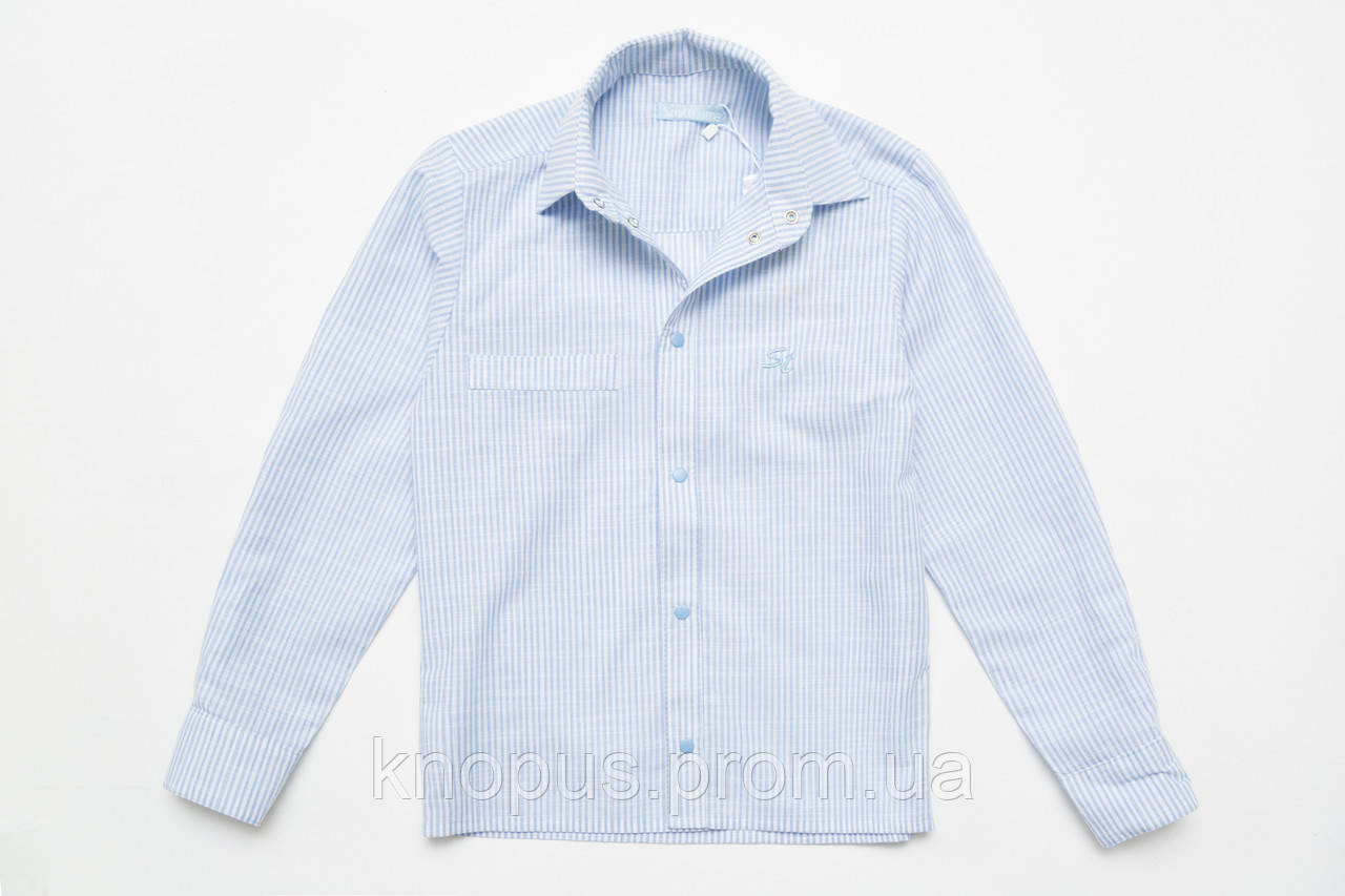Рубашка для мальчика с длиннім рукавом на кнопках (голубая полоска), SmileTime, размеры 122-152