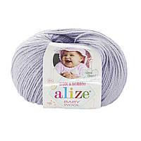 Детская зимняя пряжа Ализе BABY WOOL светло сиреневого цвета