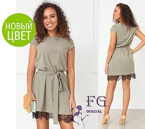 Платье летнее элегантное оливкового цвета «Шерри»