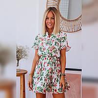 Светлое летнее платье с Тропическим принтом