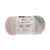 Детская зимняя пряжа Ализе BABY WOOL BATİK, бейби Вул батик  серо - розового цвета 3245