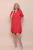 Женское красное платье большого размера от производителя. Размер 52 Опт \ розница