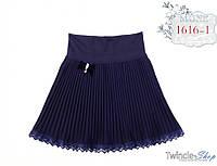 Юбка текстиль гофре однотон трикотажный пояс, кружева MONE рост 152 см,
