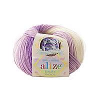 Детская зимняя пряжа Ализе BABY WOOL BATİK, бейби Вул батик сиренево фиолетовый 7254