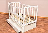 Кроватка для новорожденных белая с ящиком маятниковый механизм качания с подшипником Комфорт откидной бортик