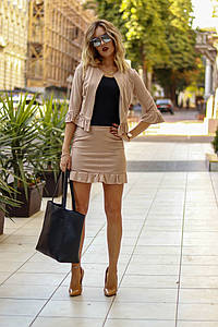 Замшевый женский костюм тройка юбка майка пиджак