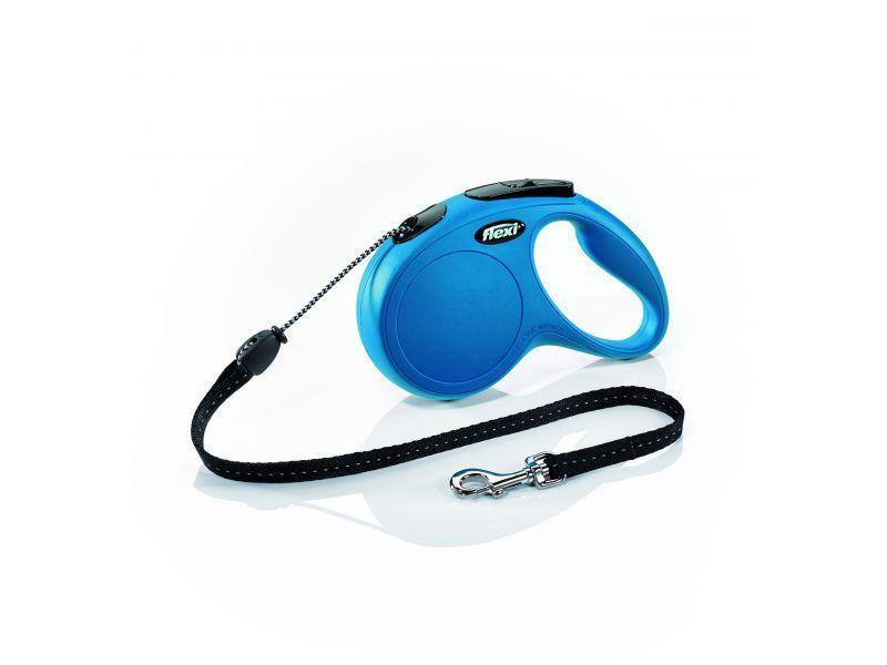 Поводок рулетка ФЛЕКСИ FLEXI Classic S для собак весом до 12 кг, трос 5 метров, цвет синий