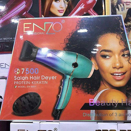 Профессиональный фен для волос ENZO EN-8001 7500W | Бесшумный фен для сушки волос, фото 2