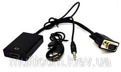 03-00-011. Конвертор VGA в HDMI (штекер VGA + штекер 3,5мм → гнездо HDMI), с питанием, шнур 20см