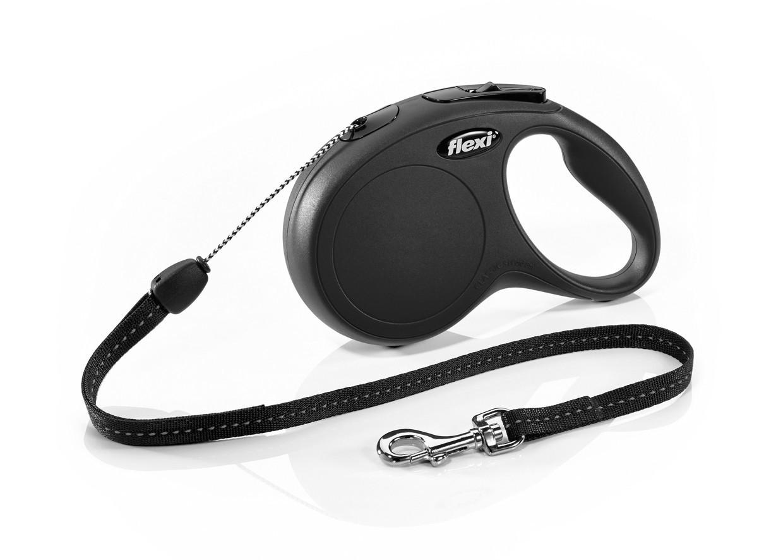 Поводок рулетка ФЛЕКСИ FLEXI Classic XS для собак весом до 8 кг, трос 3 метра, цвет черный