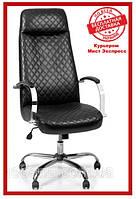 Мягкое кресло Barsky Сhief Black Rhombus/Red tree Chrome CF-07