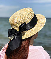 Соломенная летняя шляпа канотье с лентой