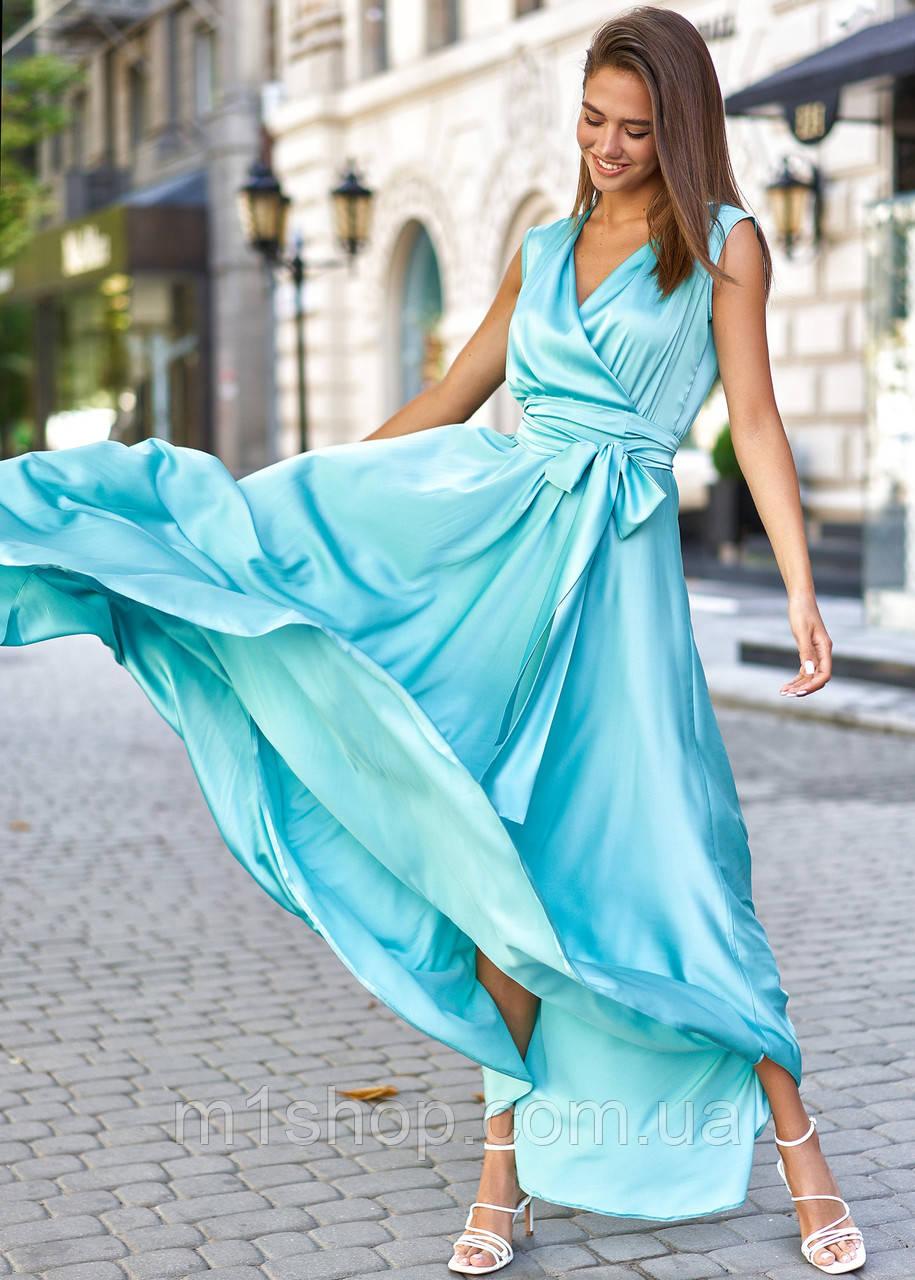 Женское шелковое платье в пол без рукавов (Фурор jd)
