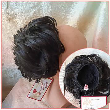 Шиньон-бабетта на гульку короткий на гребешках черный кофе KELI-2