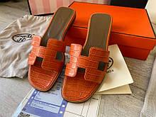 Женские шлепанцы Hermes 21504 оранжевые