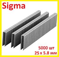 Скобы для пневмостеплера 25 х 5.7-5.8 мм, 5000 шт, Sigma 2816251