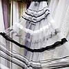 """Тюль в смужку для залу, спальні, кухні, дитячої фатин Чорний """"Totti"""" Висота 3 м"""