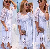 Нарядное белое летнее женское платье свободного кроя больших размеров, хлопок котон кружево, р-ры от 44 до 60