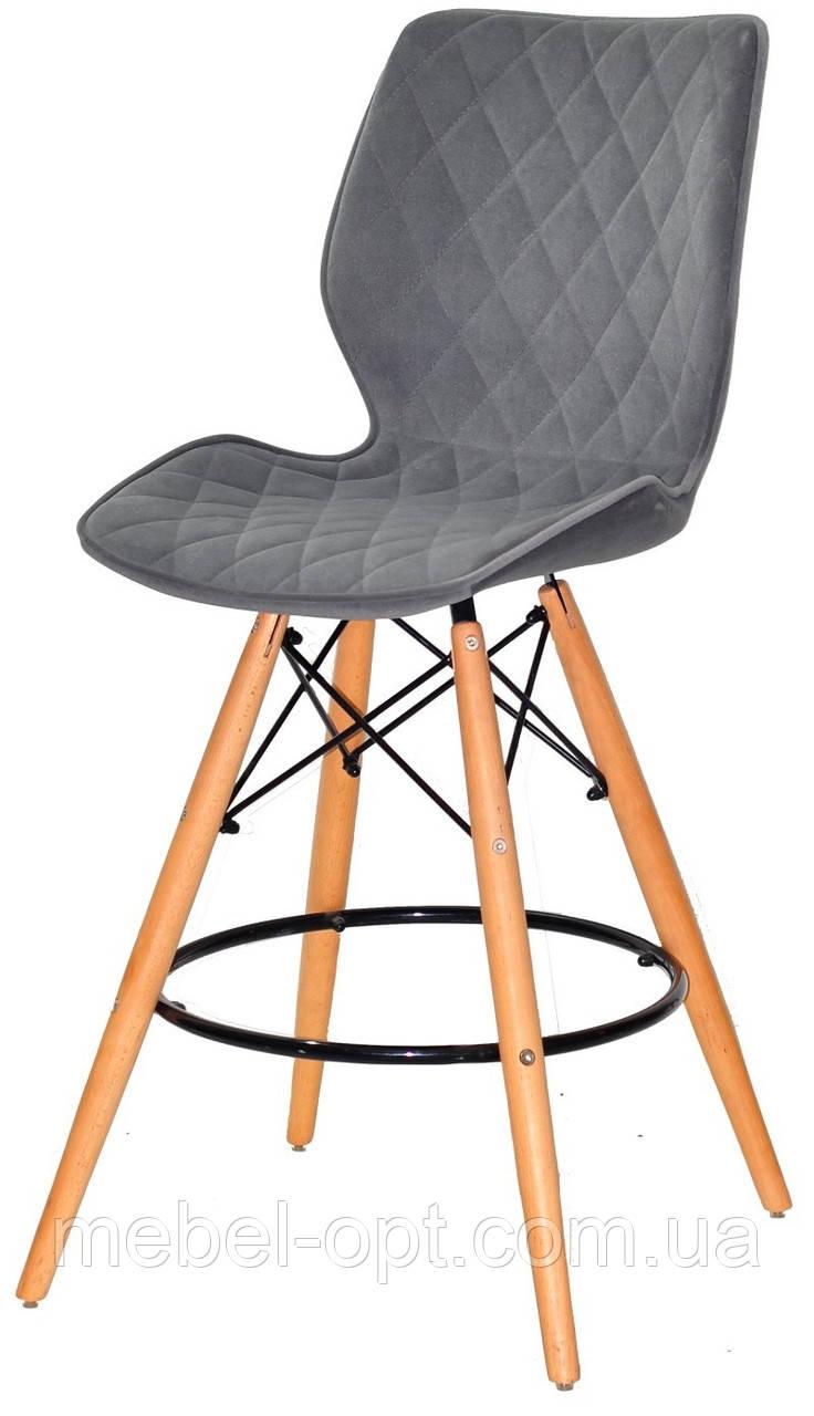Полубарный стул Nolan бархат, серый  B-1004 Bar 65 см, на деревянных буковых ножках, код 11066